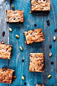Chocolate chip and pistachio nut bars