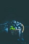 Blueberries in mug