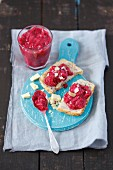 Homemade raspberry jam with white chocolate and almonds