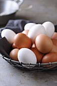 Brown and white chicken eggs in a wire basket