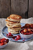 Gluten-free banana and apple pancakes with compote