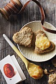 Heart shaped rolled oat biscuits with jam (Gluten free)