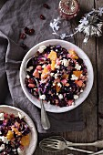 Winter millet salad with red cabbage, orange, feta, and cranberries