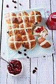 Hot cross buns (Easter buns, England) with jam