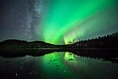 Aurora borealis and the Milky Way