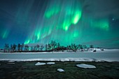 Aurora borealis over a river