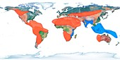 Areas affected by climate change, global map
