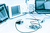 Measuring devices in electronics laboratory