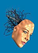 Female android's head, illustration