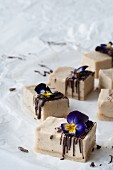 Raw vanilla slices with chocolate and horned violets