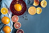 Pressed oranges and blood oranges
