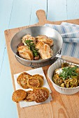 Pan fried chicken breasts with lentil pancakes and leek curry
