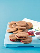 Chocolate sandwich biscuits with jam
