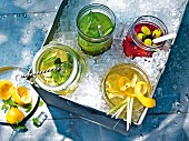 Elderflower and mint lemonade, cucumber and basil lemonade, ginger and lemongrass lemonade and grape lemonade