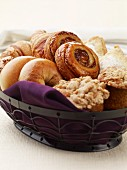 Breakfast Basket with bagels, buns, muffins and pastry