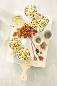 Ingredients for savoury spiced nuts