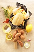 Ingredients for spicy roast chicken with harissa oil