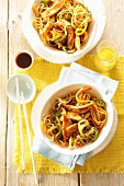 Fried mie noodles with chicken breast, carrot and ginger