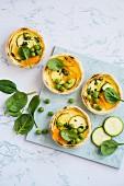 Zucchine and peas tarte