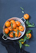 Fresh tangerines in a metal bowl against a blue background (top view)