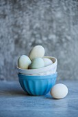 Duck eggs in porcelain bowls