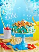 Blaue Oktopus-Motivtorte für den Kindergeburtstag