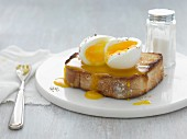 A soft-boiled egg on toast
