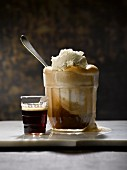 An espresso float with vanilla ice cream