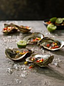 Oysters with fruit tartare