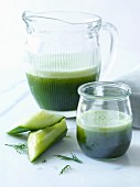 Green cucumber smoothie with dill