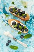 Crostini mit Mascarpone, Heidelbeeren, Zitronenschale und Minze