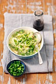 Chicken soup with courgette noodles