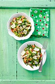Broad bean and chickpea salad with tomatoes and parmesan