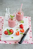 Strawberry and coconut smoothies