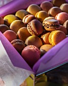 Various macarons in a biscuit tin