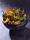 Fried pepper in a ceramic bowl
