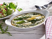 Asparagus casserole with white and green asparagus