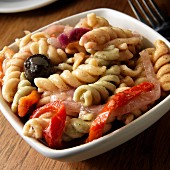 Rotini Pasta salad with olives, peppers, onions
