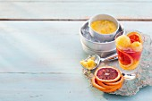 Campari with orange sorbet