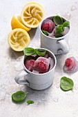 Raspberry and basil mules