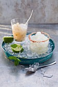 A prosecco and ginger granita and a prosecco and lime granita