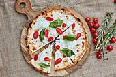 A pizza with buffalo mozzarella, cherry tomatoes and basil