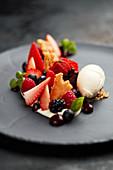Berry salad with mascarpone ice cream