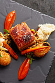 Crispy pork belly with carrots