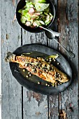 Fried trout with sage butter and salad