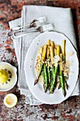 Lemon asparagus with pecorino and pine nuts