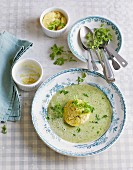 Butter lettuce soup with shallot flan