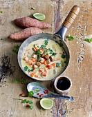 Lime and sweet potato soup with fried tofu