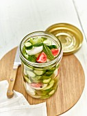 Lacto fermented mini cucumbers with radishes