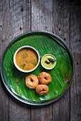 Medu Vada with Sambhar and Coconut Chutney